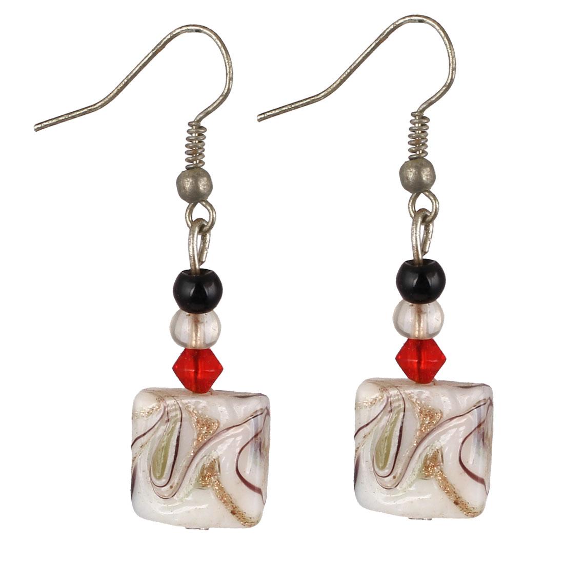 Women Plastic Irregular Lines Pattern Dangling Cube Drop Hook Earrings White Pair