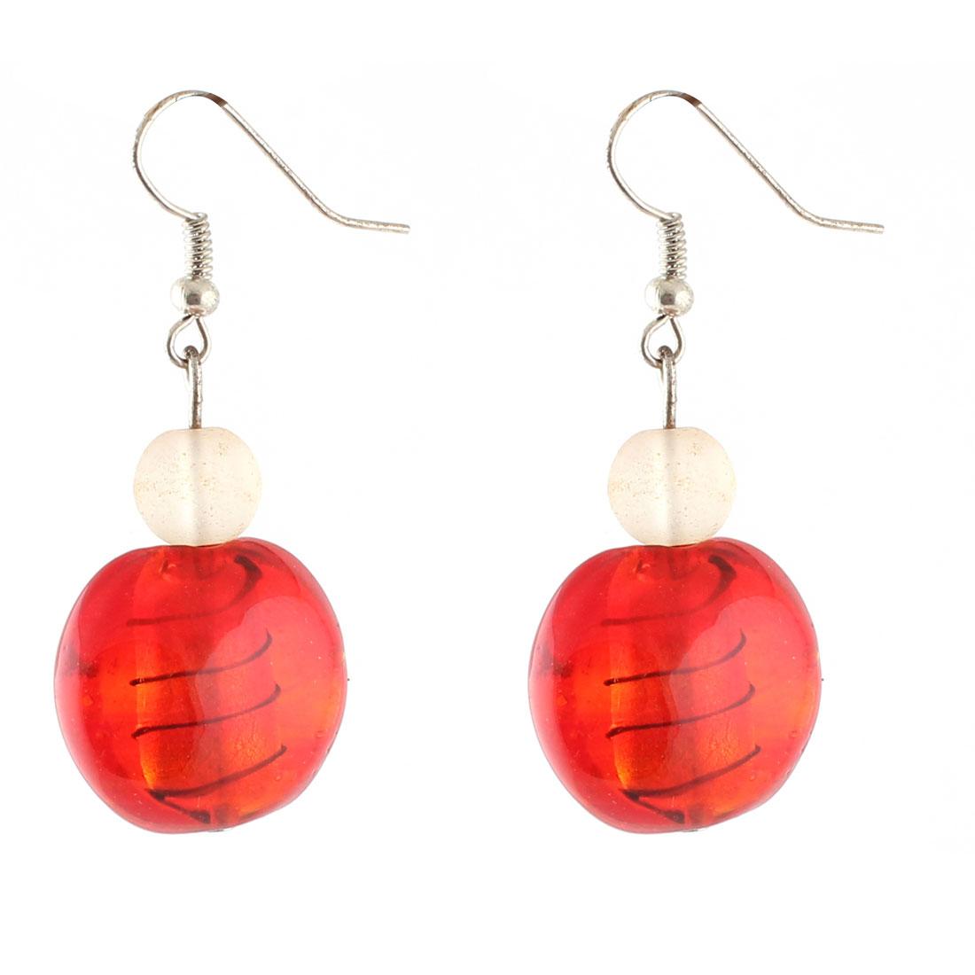 Woman Plastic Lines Pattern Round Bead Dangling Pendant Earrings Red Pair