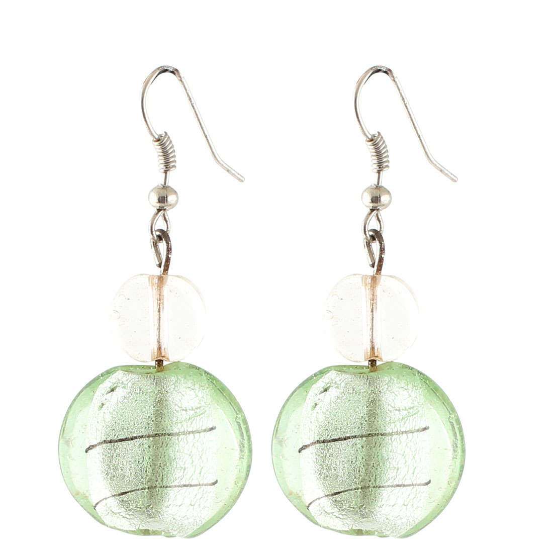 Lady Plastic Round Inner Curve Pattern Style Pendant Earrings Ornaments Green Pair