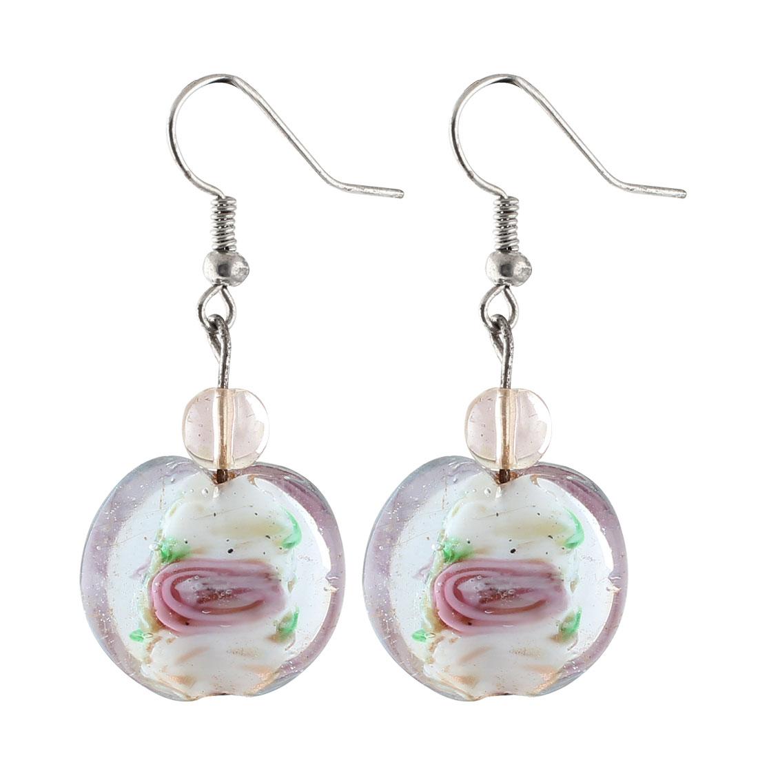 Lady Plastic Bead Inner Flower Press Pendant Fish Hook Earrings Ornaments White Pair