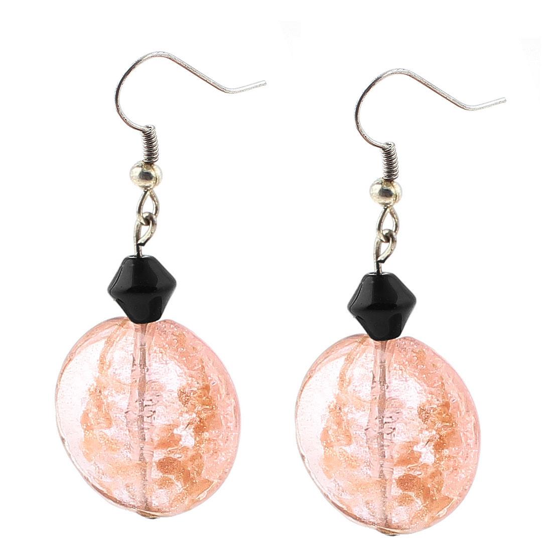 Lady Plastic Oval Rhombus Dangling Pendant Fish Hook Earrings Ornaments Pink Pair