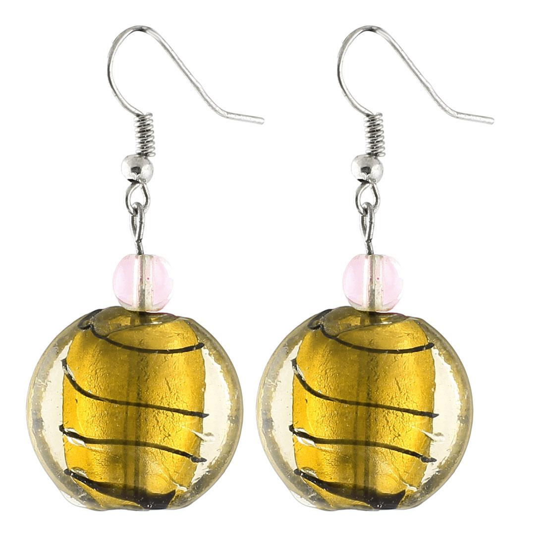 Ladies Plastic Lines Pattern Round Bead Dangling Pendant Earrings Gold Tone Pair