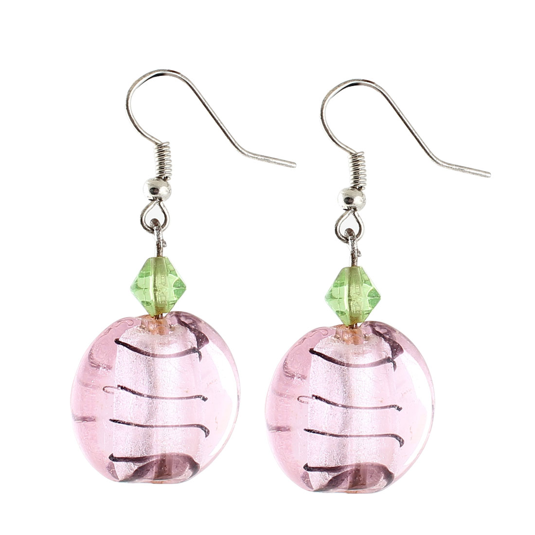 Ladies Plastic Lines Pattern Rhombus Bead Pendant Earrings Pink Pair