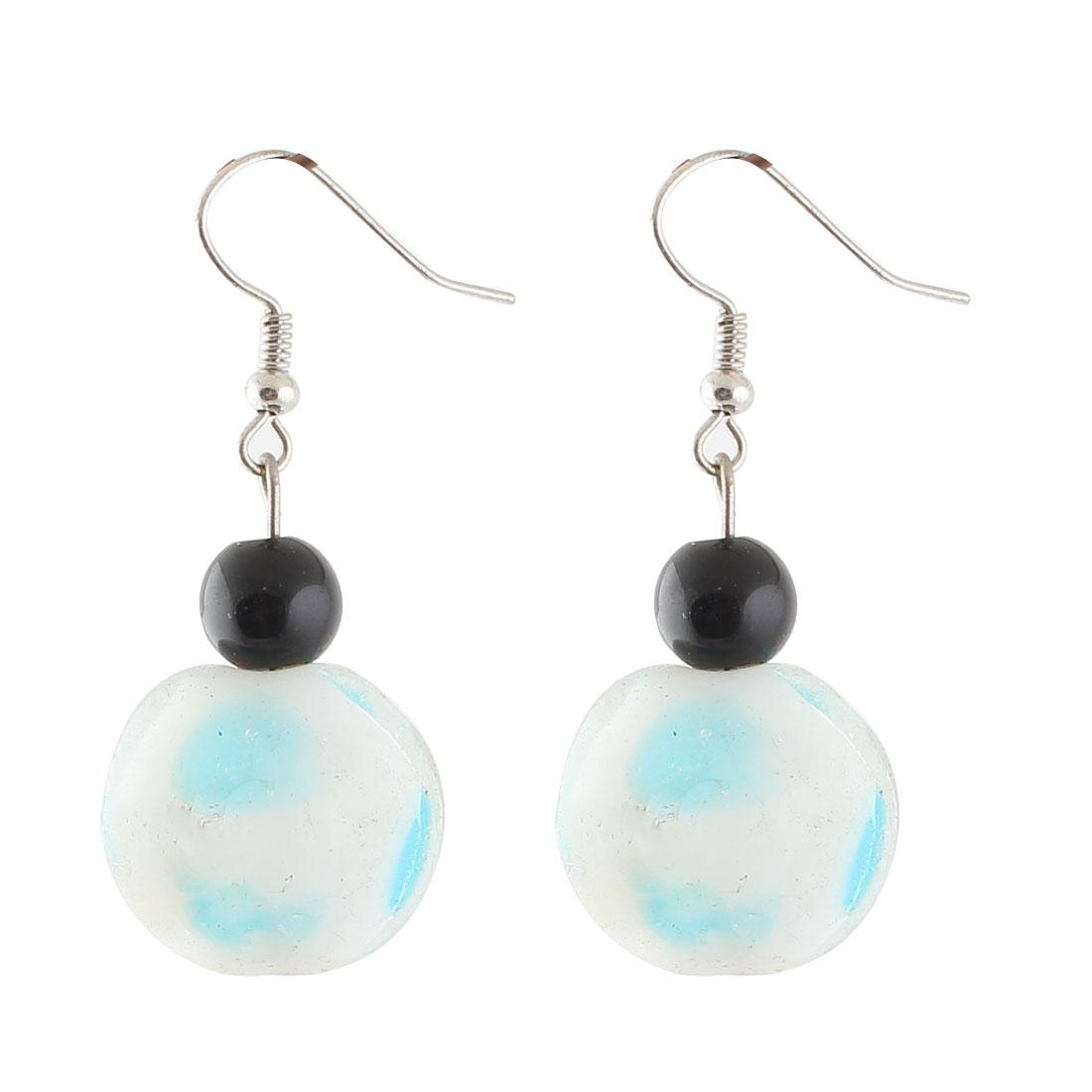 Plastic Bead Dotted Pattern Pendant Fish Hook Earrings Blue Pair