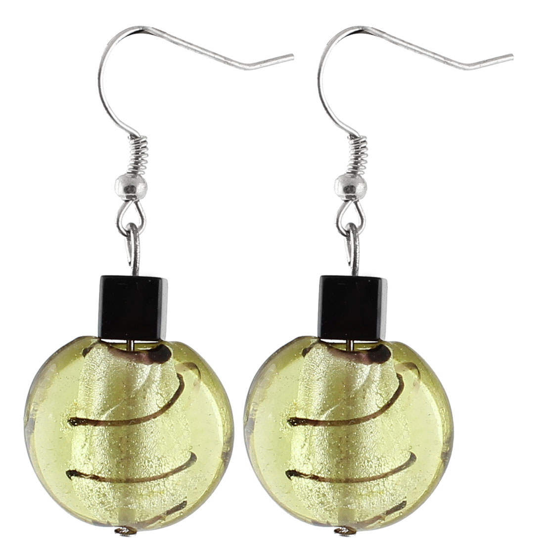 Ladies Plastic Curve Lines Pattern Square Bead Pendant Earrings Olive Yellow