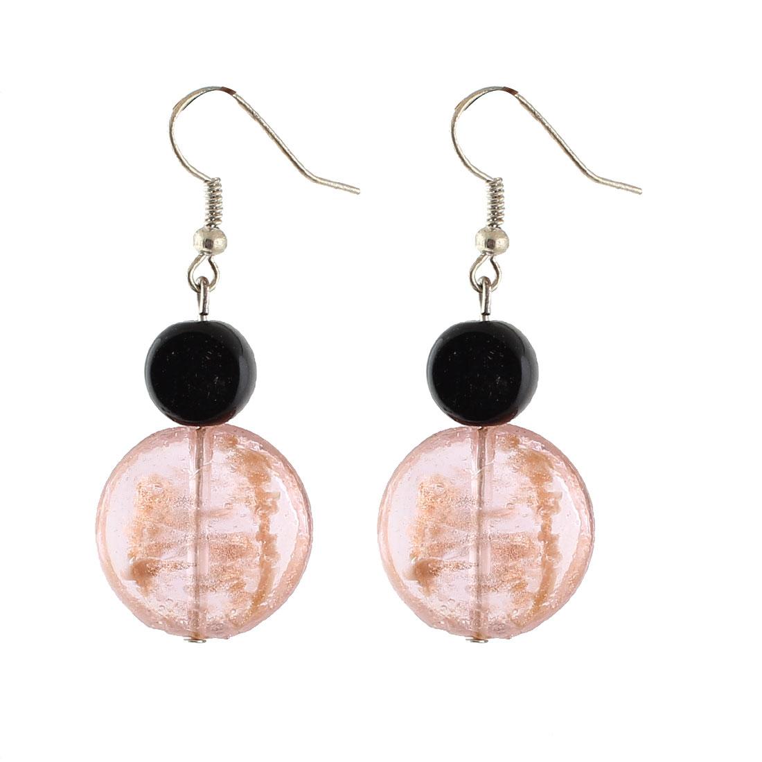Women Plastic Oval Bead Pendant Fish Hook Earrings Coral Pink Pair