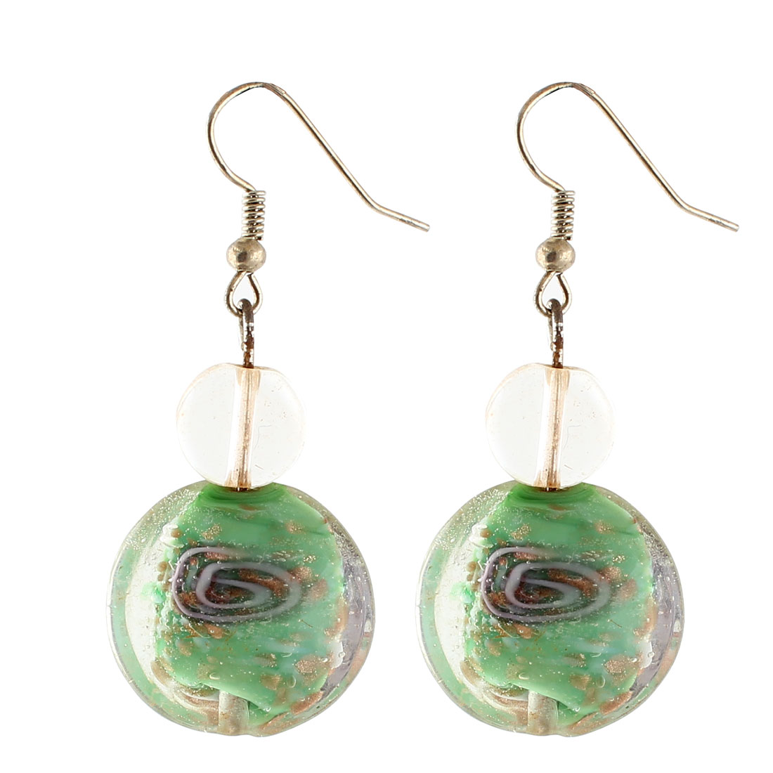 Ladies Plastic Inner Flower Design Round Bead Pendant Hook Earrings Green Pair