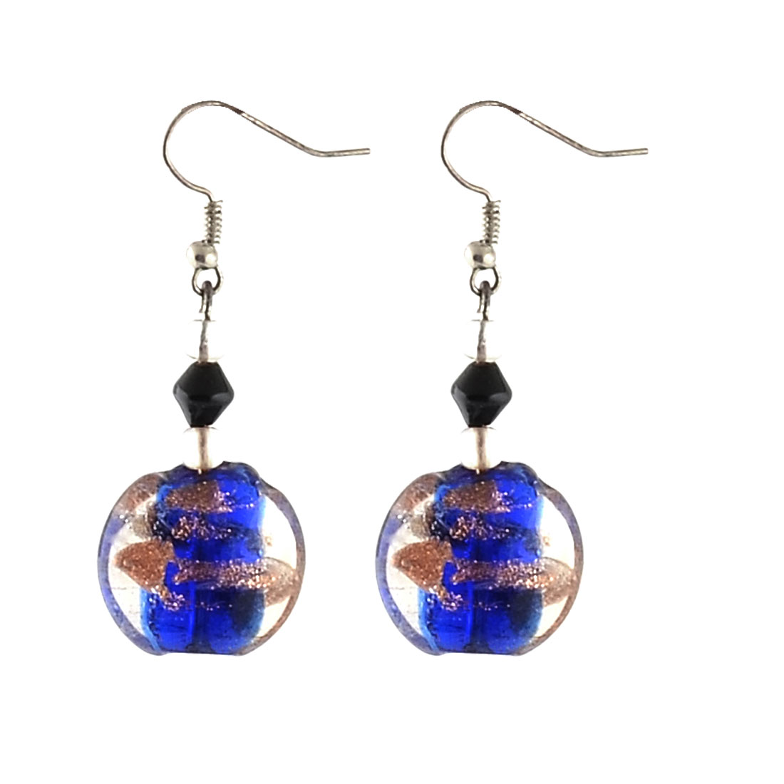 Lady Plastic Round Diamond Bead Dangling Pendant Fish Hook Earrings Blue Pair
