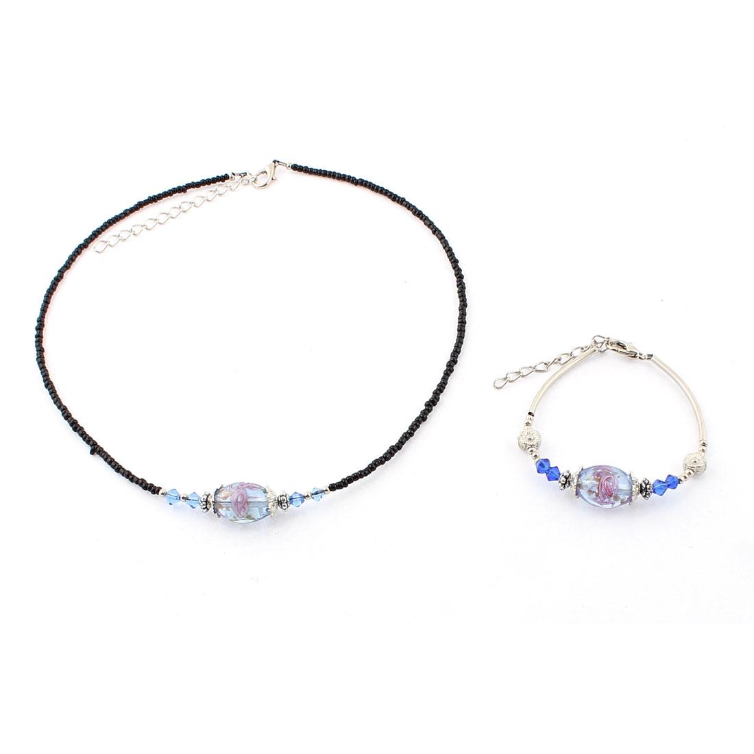 Women Flower Pattern Lobster Clasp Oval Bead Chain Necklace Bracelet Blue Set