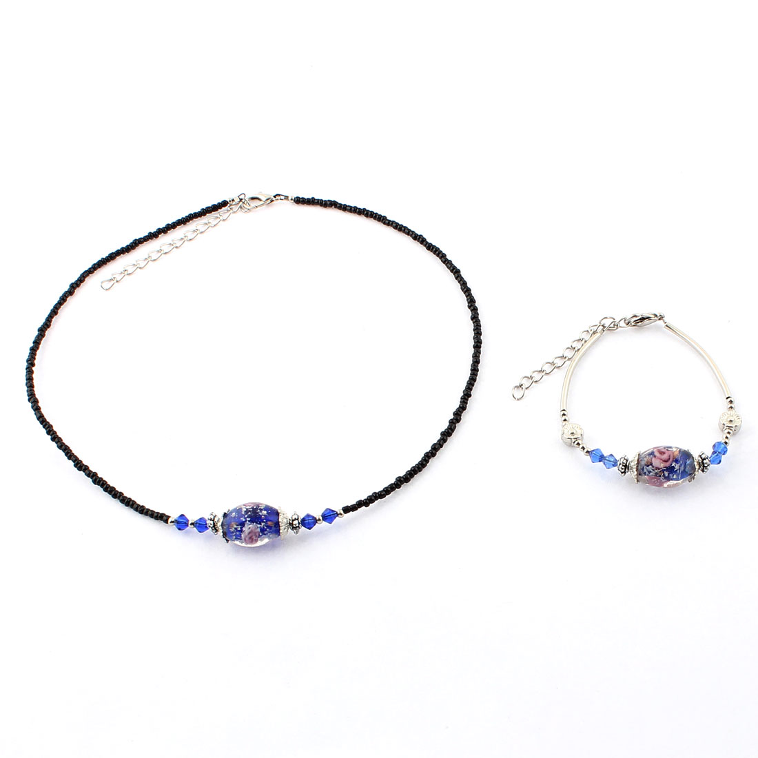 Woman Plastic Flower Pattern Bead Necklace Bracelet Dark Blue Set