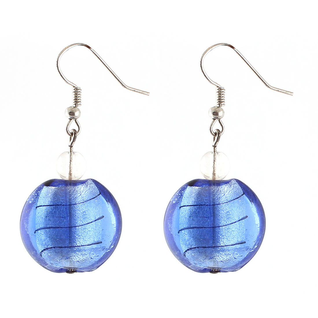 Lady Plastic Curve Press Dangling Oval Pendant Fish Hook Earrings Blue Pair