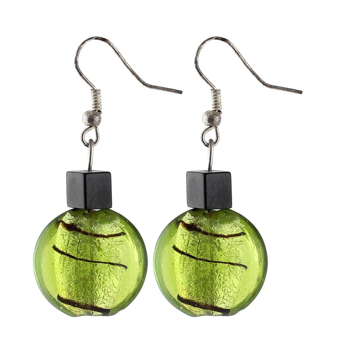 Woman Plastic Inner Lines Pattern Square Bead Dangling Pendant Hook Earrings Green Pair