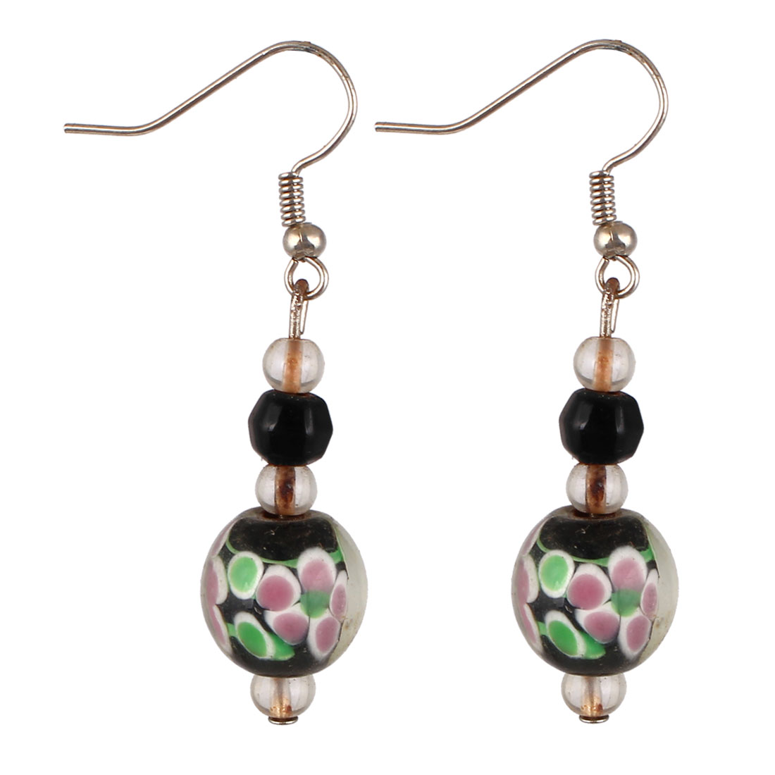 Women Plastic Flower Pattern Inner Beaded Ornament Pendant Hook Earrings Black Pair