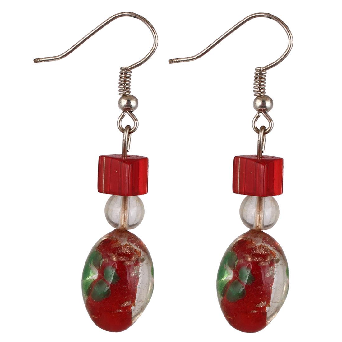 Lady Plastic Flower Pattern Inner Oval Drop Bead Pendant Hook Earrings Red Pair