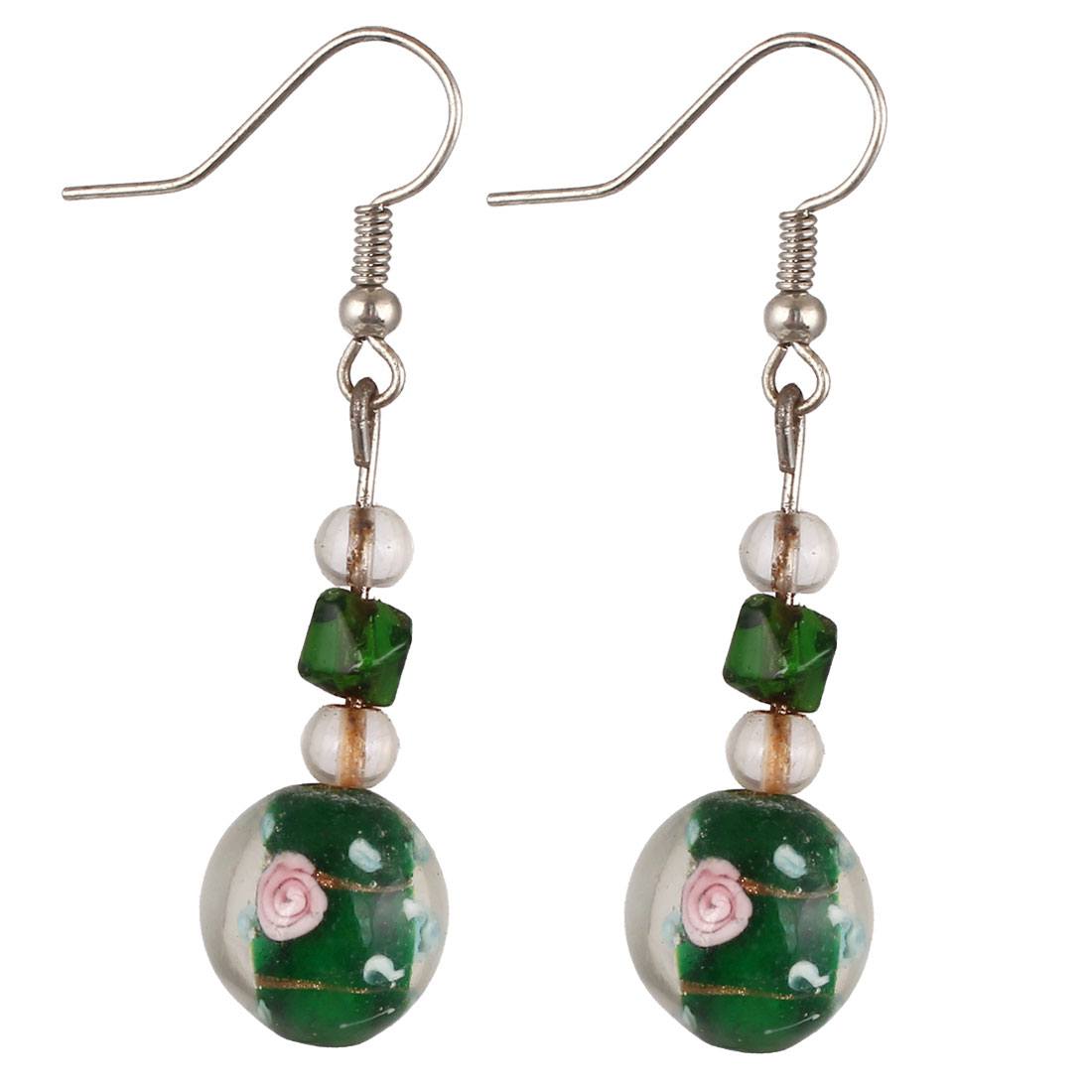 Women Plastic Flower Curves Pattern Dangling Rhombus Drop Hook Earrings Green Pair
