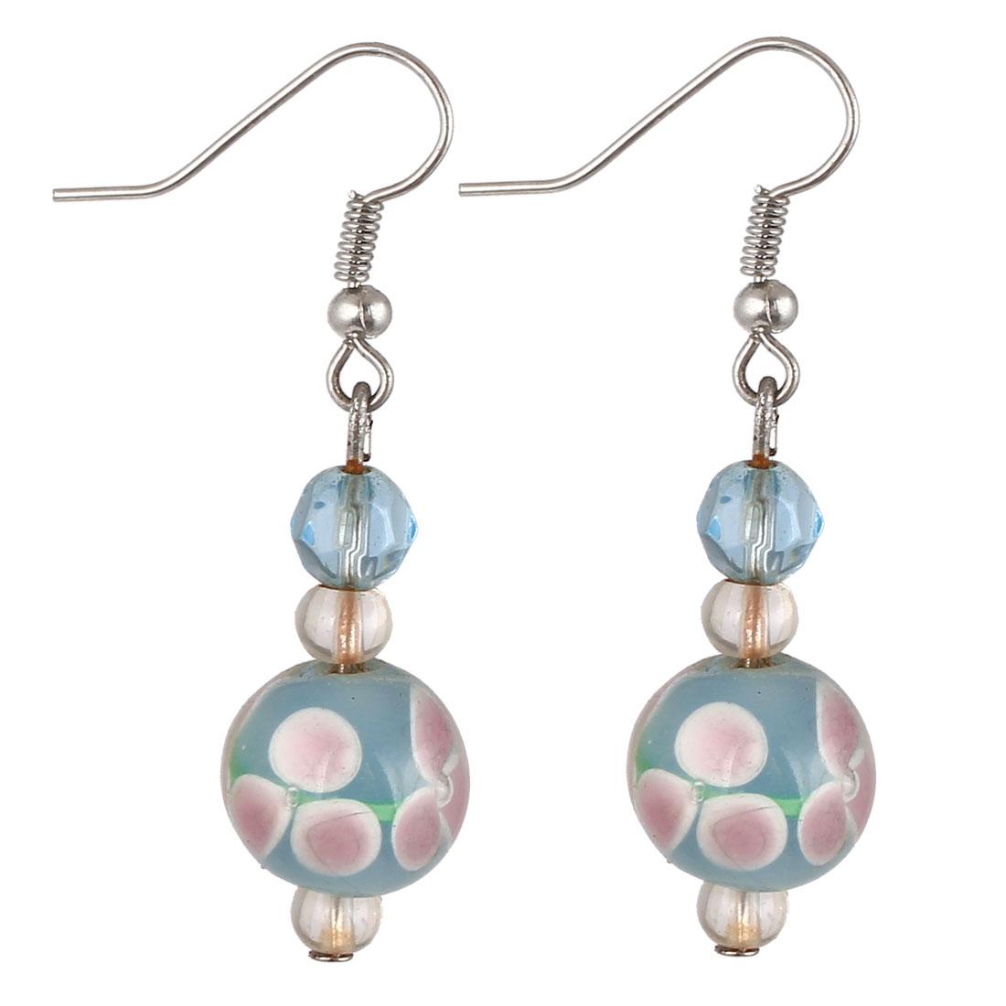 Lady Plastic Clover Pattern Inner Beaded Dangling Pendant Hook Earrings Blue Pair