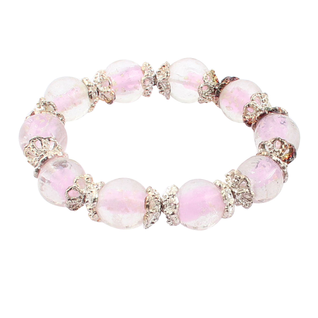 Woman Plastic Luminous Beaded Round Balls Flower Decor Elastic Rope Bracelet Pale Pink