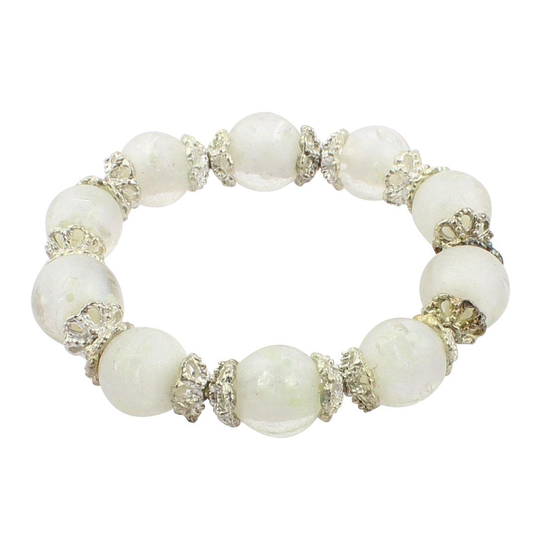Lady Plastic Luminous Beaded Flower Decor Bungee Bracelet White