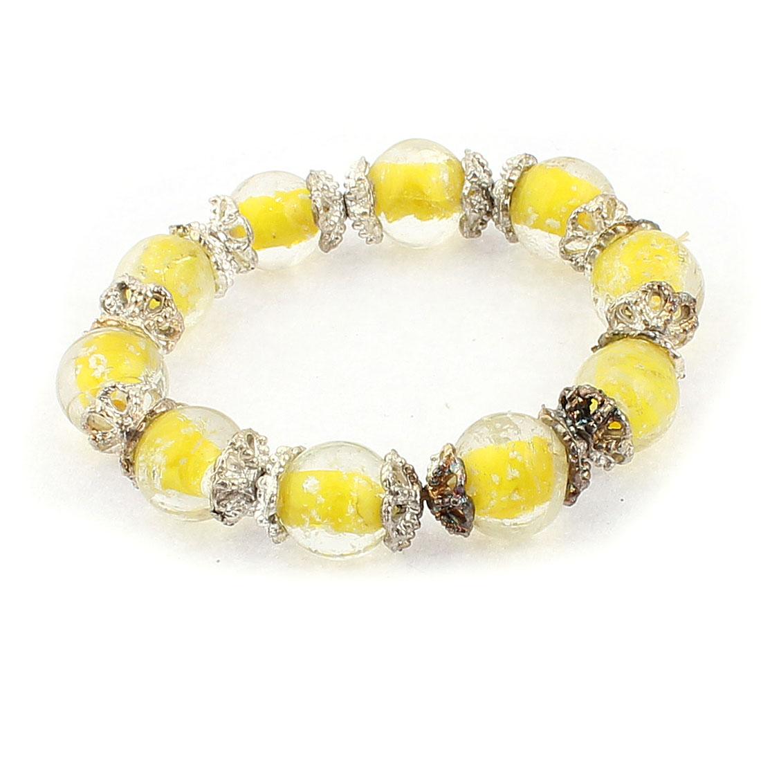 Lady Plastic Luminous Round Balls Flower Decor Elastics Bracelet Yellow