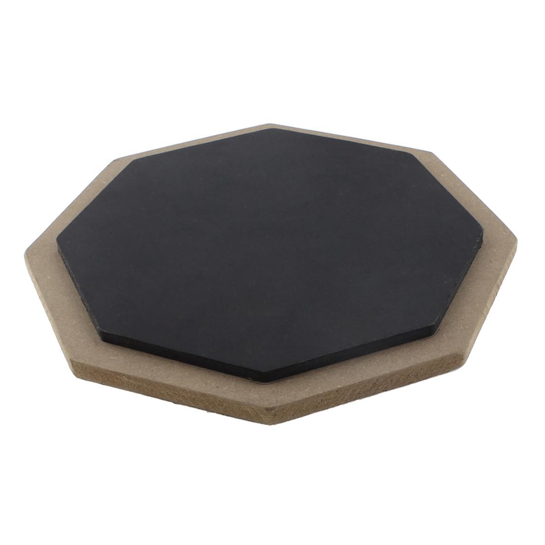 Octagon Shaped Single Sided Training Mute Drum Practice Pad Black