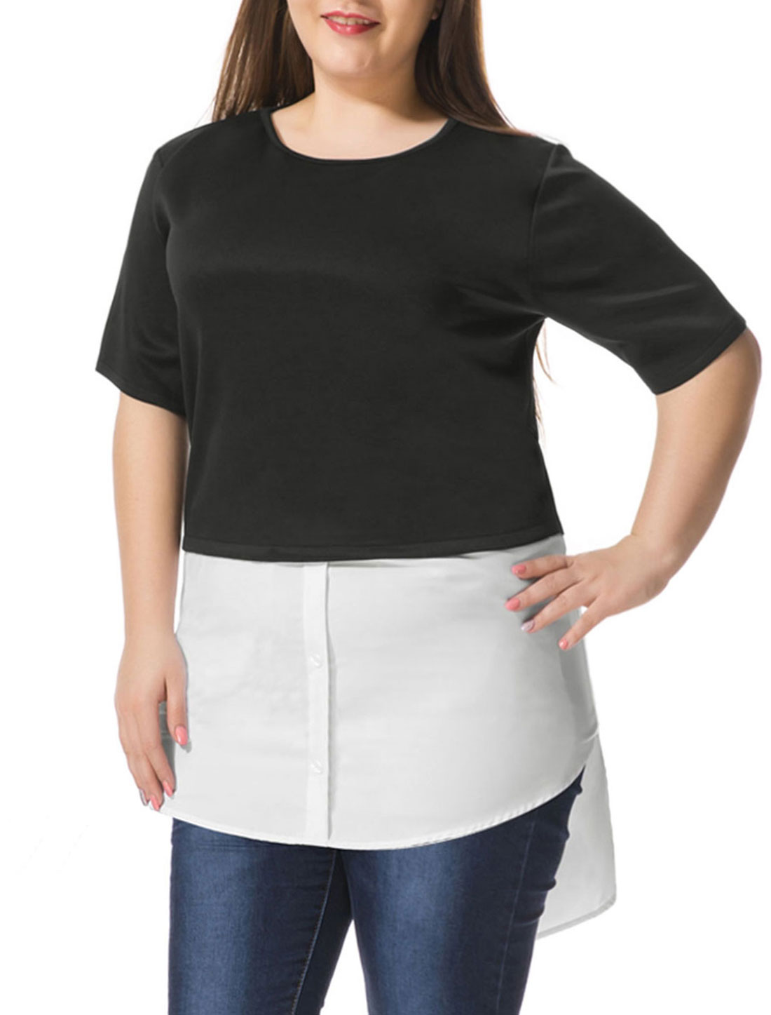 Women Plus Size Contrast-Paneled Shirttail Tunic Top Black White 2X