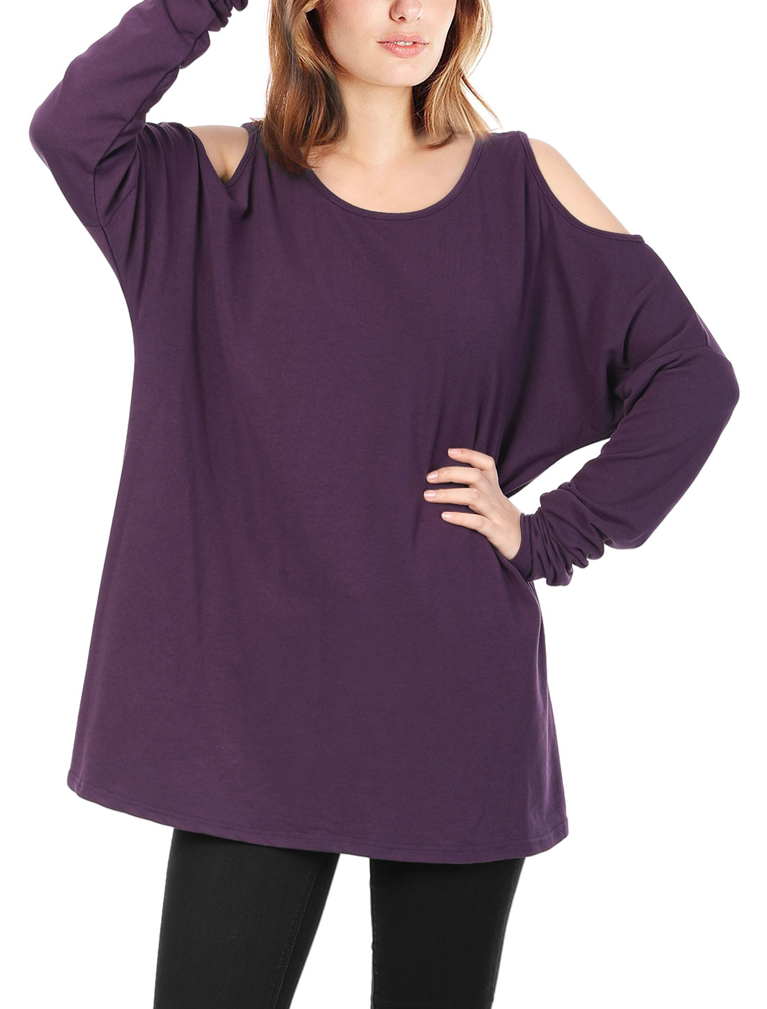 Ladies Cut Out Shoulder Loose Tunic Top Purple M
