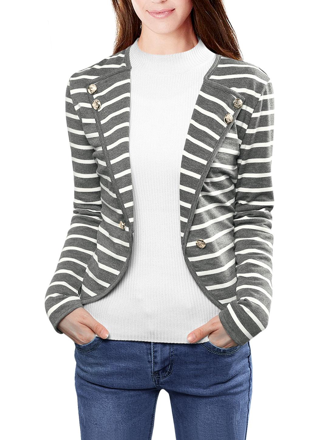 Ladies Notched Lapel Button Decor Striped Blazer Gray White M