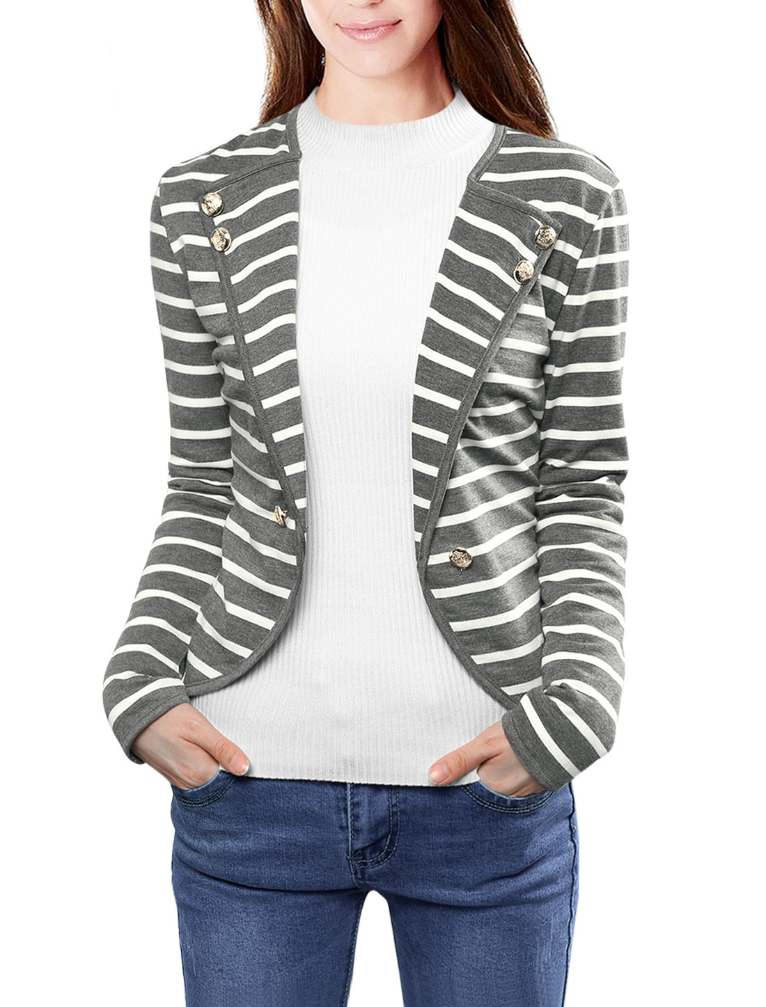Ladies Notched Lapel Button Decor Striped Blazer Gray White XL