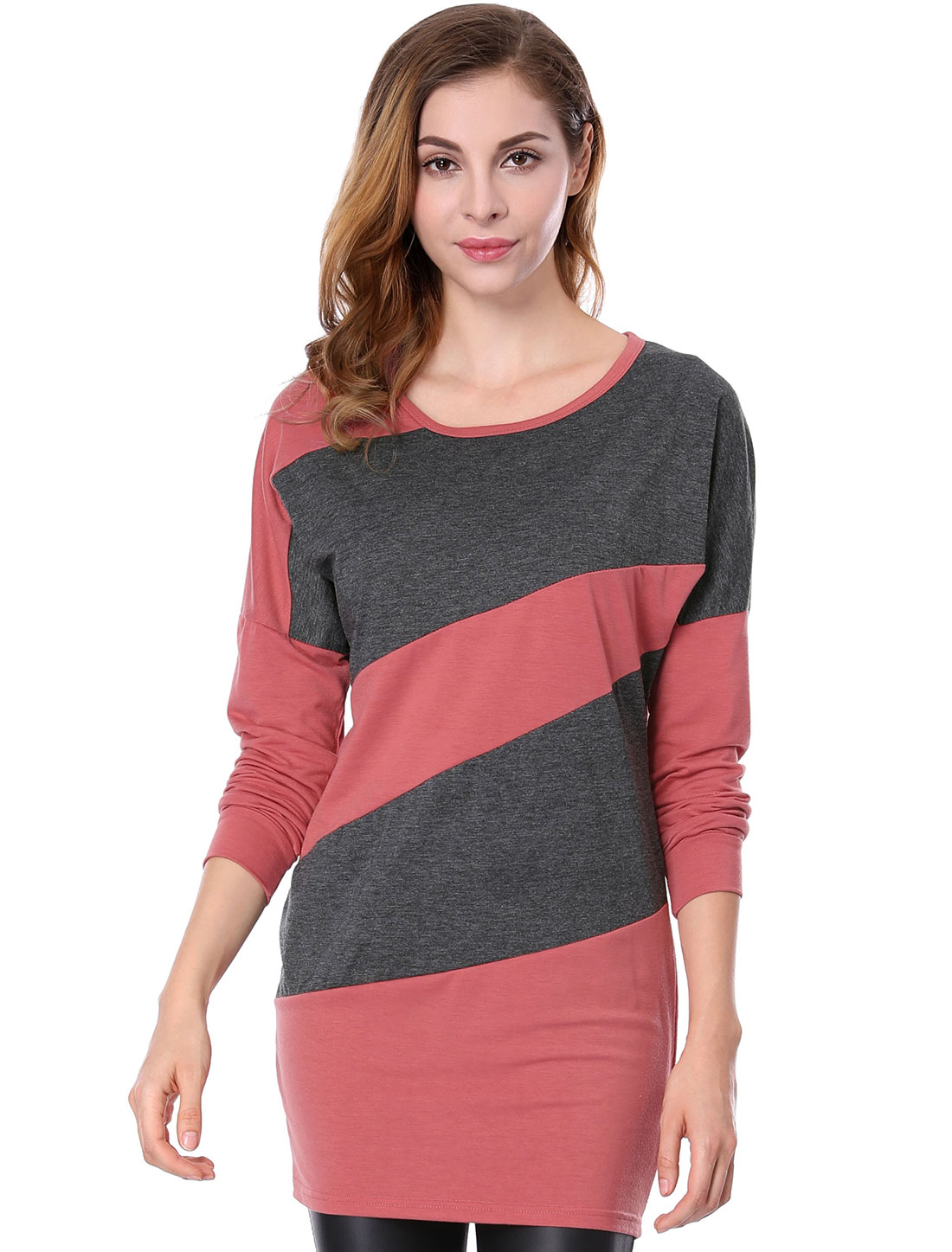 Women Color Block Batwing Sleeves Tunic Top Red XS