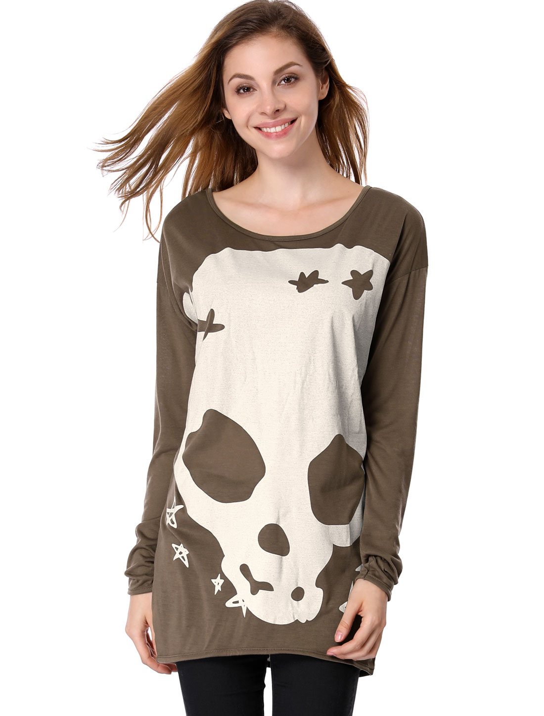 Women Long Sleeves Skull Stars Loose Tunic Shirt Brown M