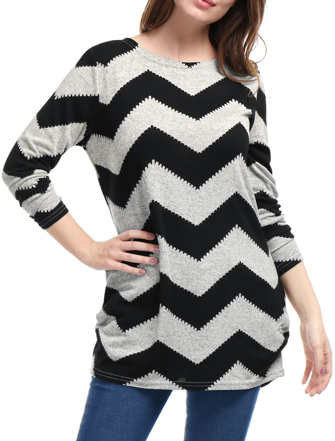 Woman Zig-Zag Pattern Knitted Loose Tunic Shirt Black Gray M