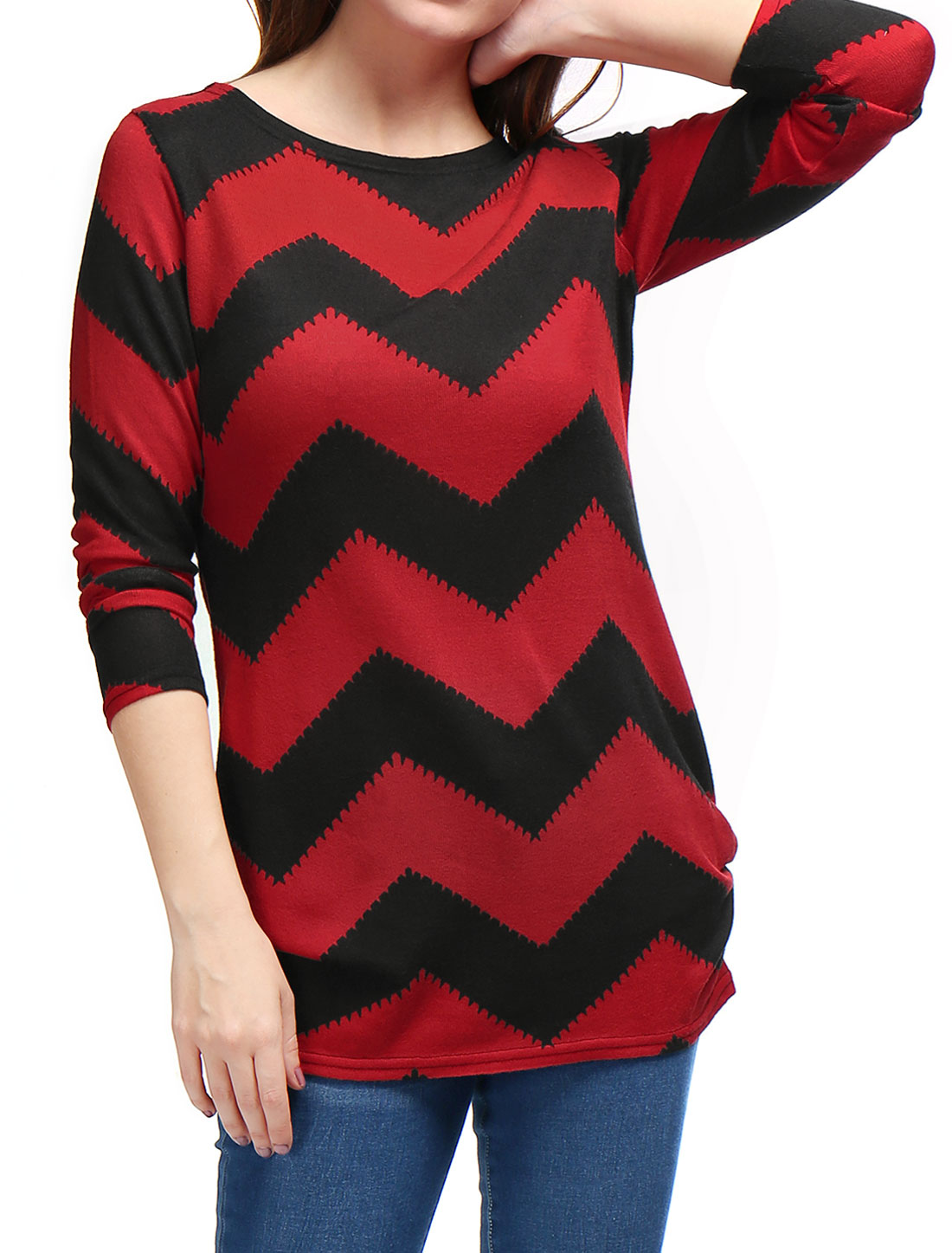 Woman Zig-Zag Pattern Knitted Relax Fit Tunic Top Black Red XL