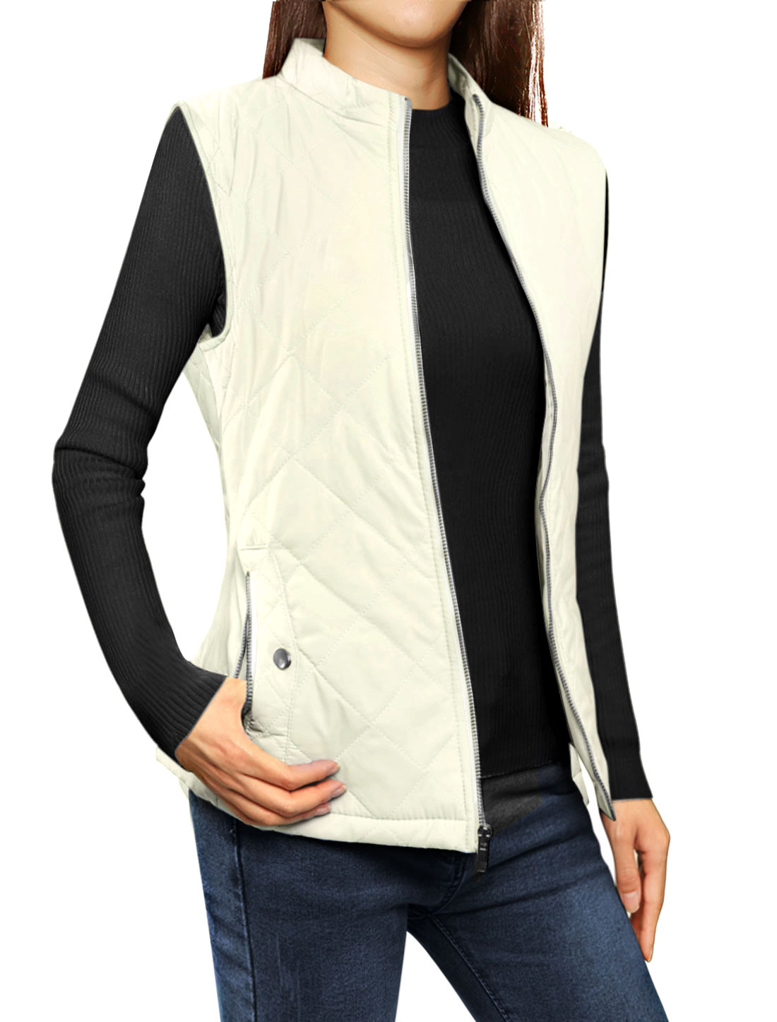 Woman Zip Up Front Stand Collar Slant Pockets Quilted Padded Vest Ivory M