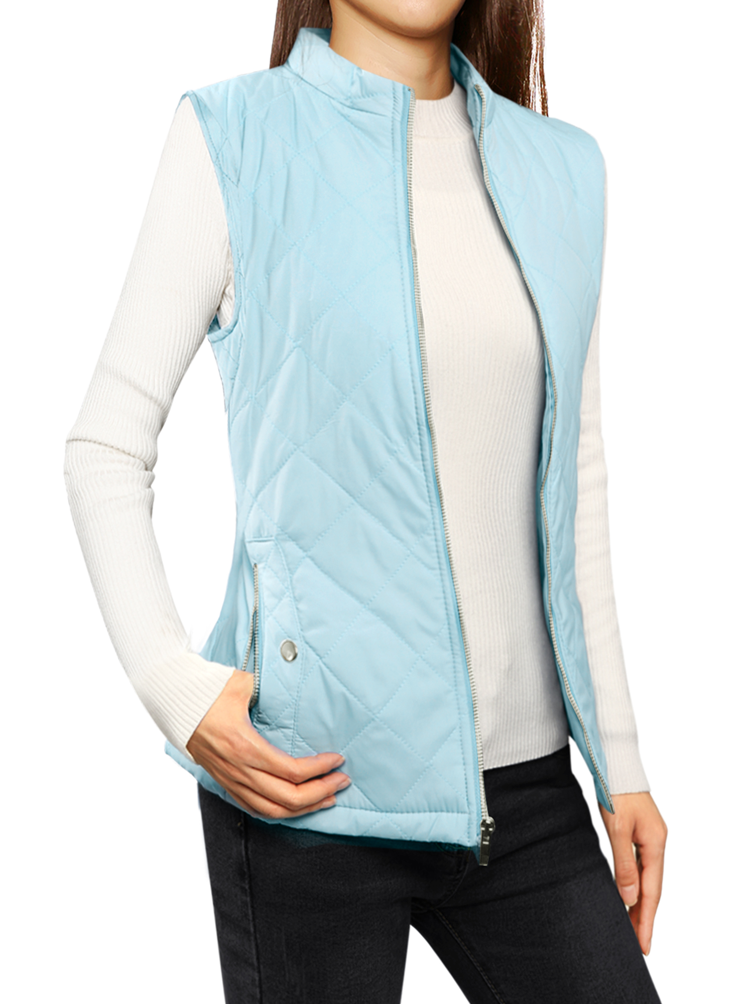 Woman Zip Up Front Stand Collar Slant Pockets Quilted Padded Vest Baby Blue M