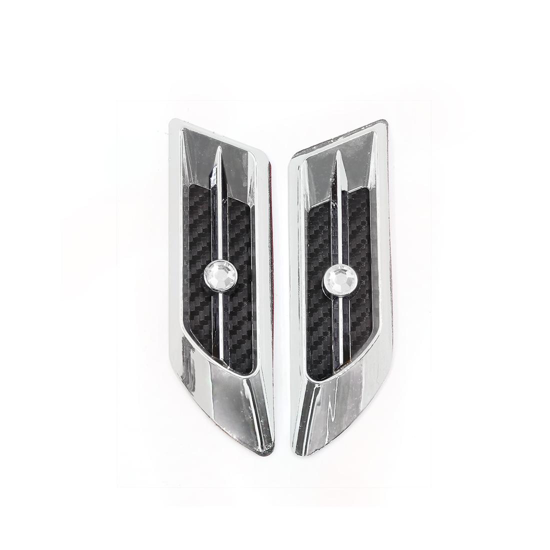 Car Faux Crystal Decor Carbon Fiber Pattern Air Flow Vent Hood Sticker 2pcs