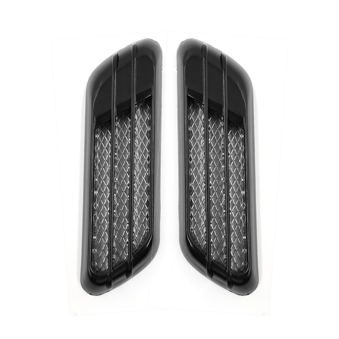 Black Car Air Flow Vent Hood Cover Fender Body Exterior Decoration Stickers 2pcs
