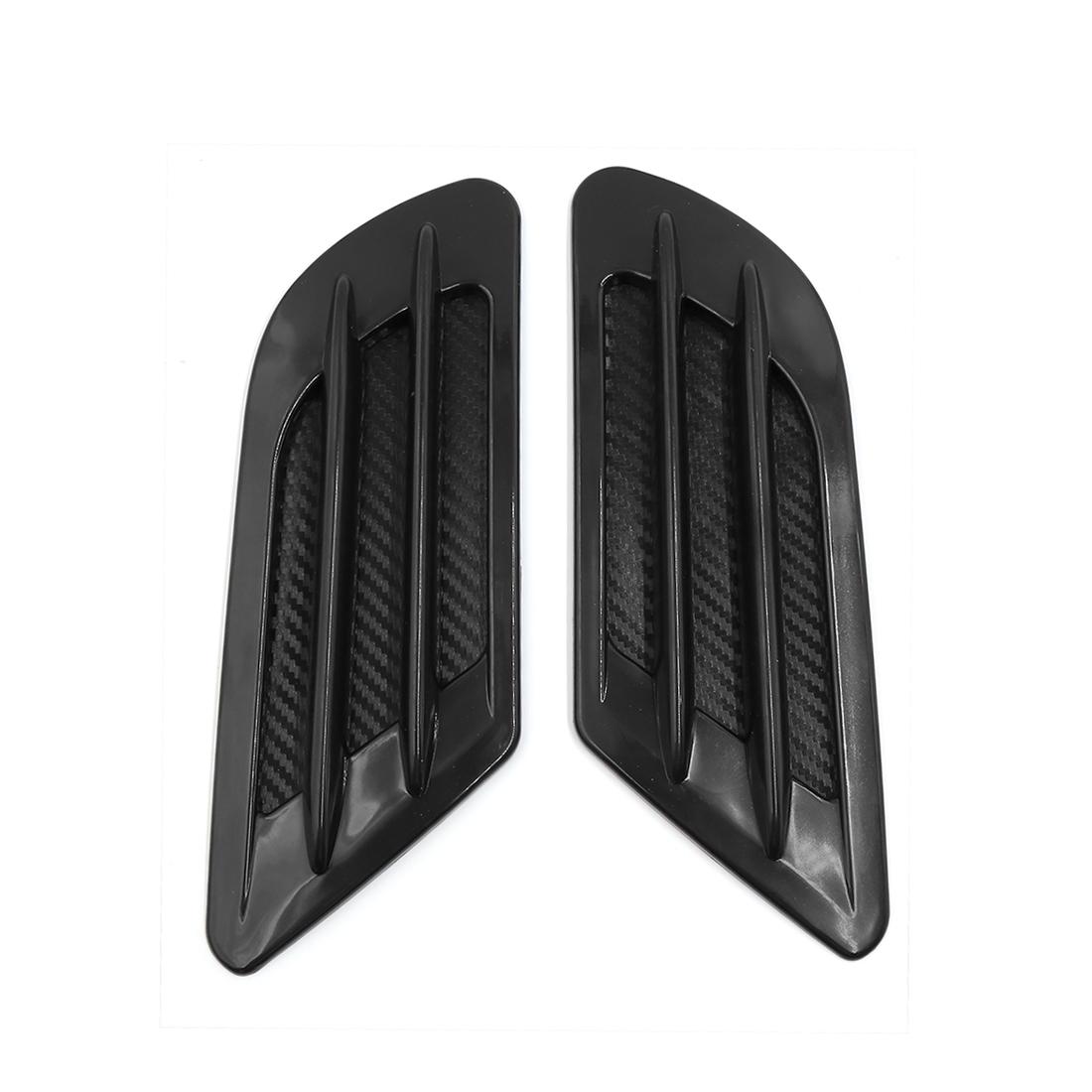 2 Pcs Carbon Fiber Print Car Fender Side Air Intake Flow Vent Cover Hood Sticker