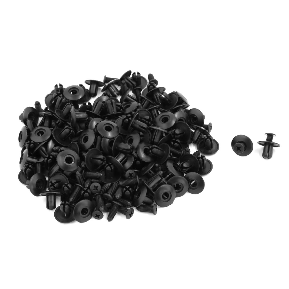 Car Splash Guard Screw Rivet Retainer Clips Fender Trim Fastener Black 100 Pcs