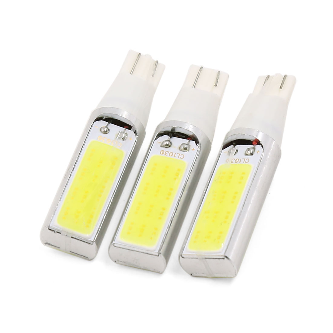 3 Pcs 12V T10 Base White COB LED Side Lamp Wedge Instrument Light Bulb Interior