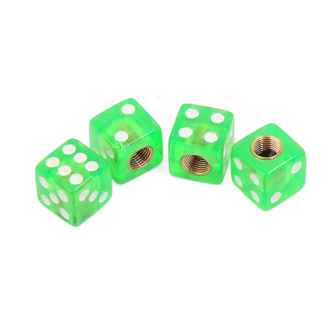 7mm Thread Green Dice Design Car Wheel Tire Tyre Valve Stem Air Dust Caps 4pcs