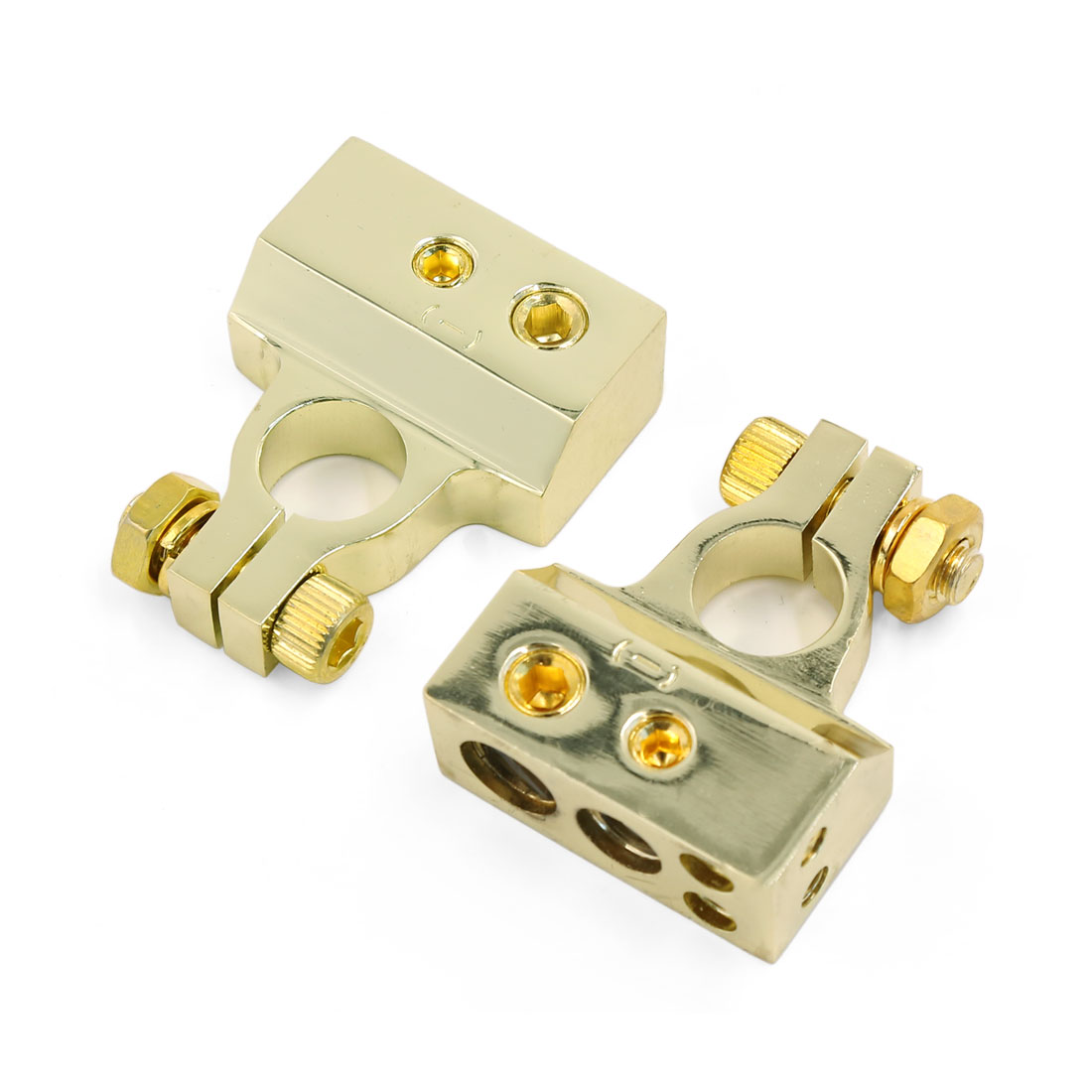 2 Pcs Gold Tone Negative Car Audio Battery Terminals Clamp Connector Posts