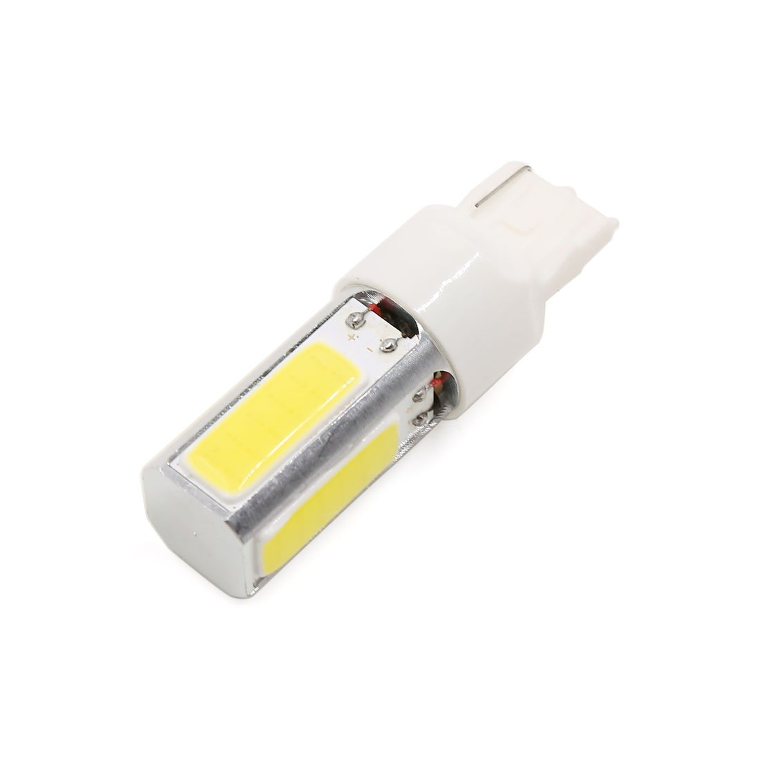 7440 W21W T20 White 4 COB LED Reverse Backup Turn Signal Lamp Light Bulbs