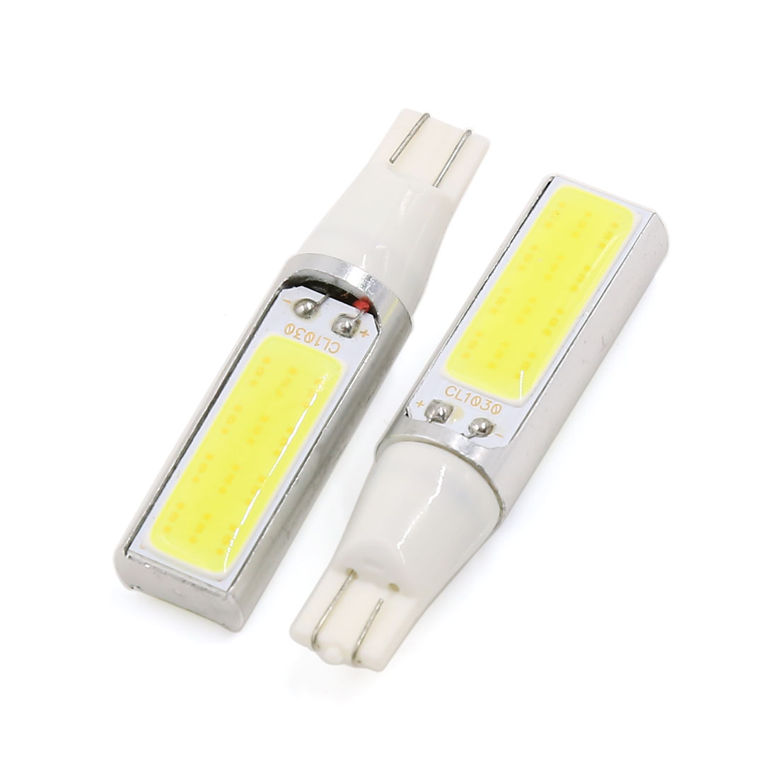 2 Pcs 15W T10 194 W5W COB 2-LED White Instrument Panel Light Wedge Lamp Interior