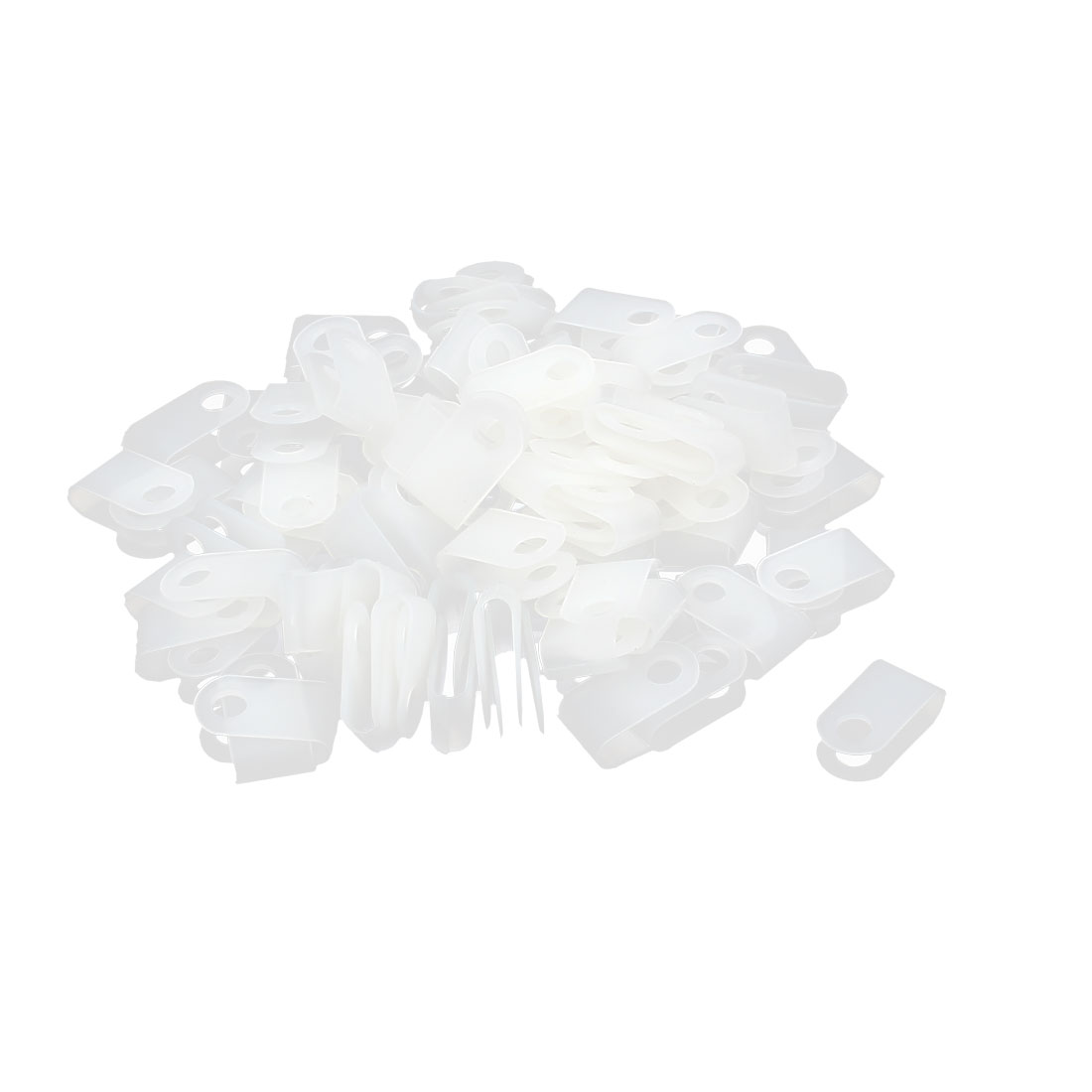 100Pcs White Plastic R Type Cable Clip Clamp for 3.3mm Dia Wire Hose Tube