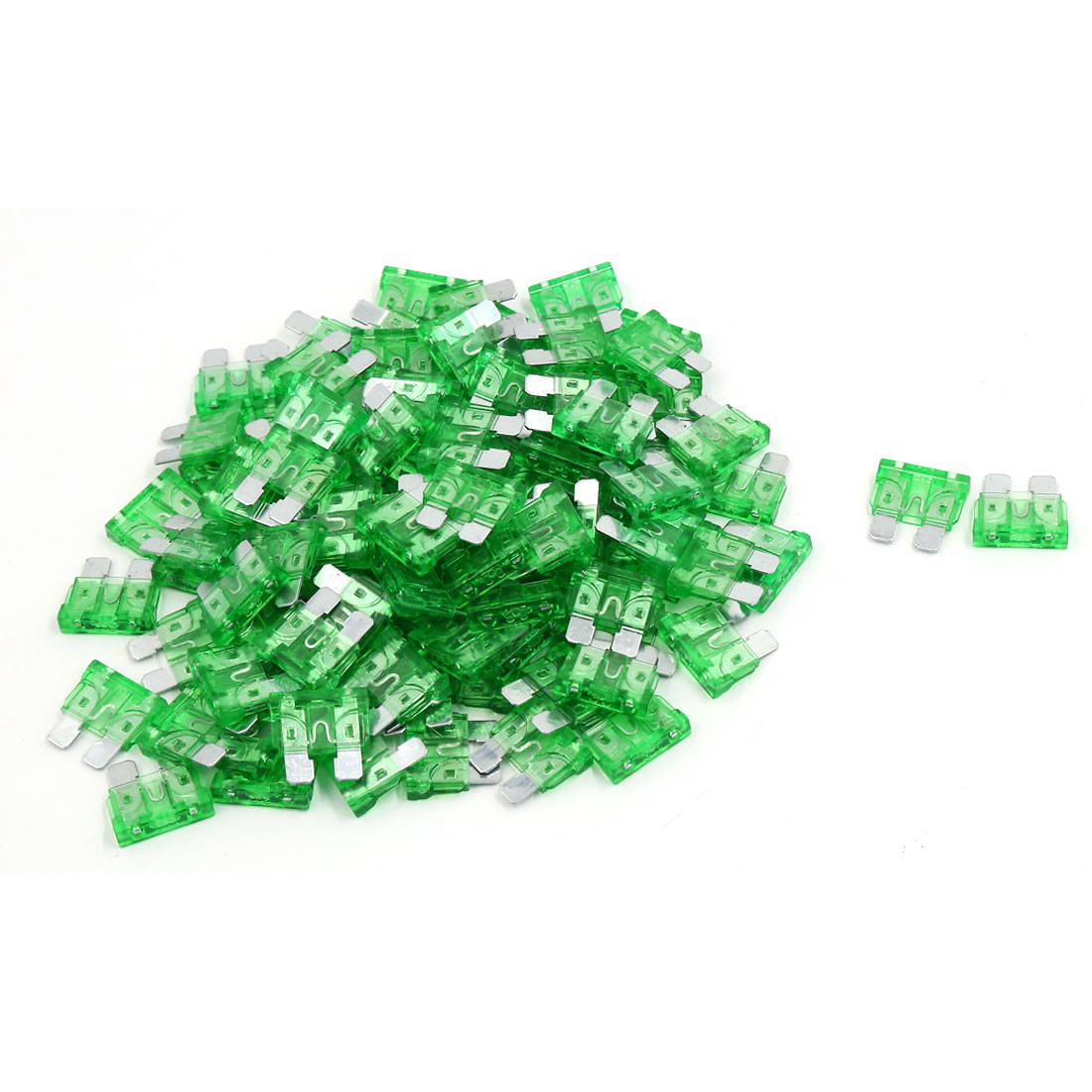 100 Pcs Green Plasic Housing Mototrcycle Car Medium Size Blade Fuse Fuses 30A