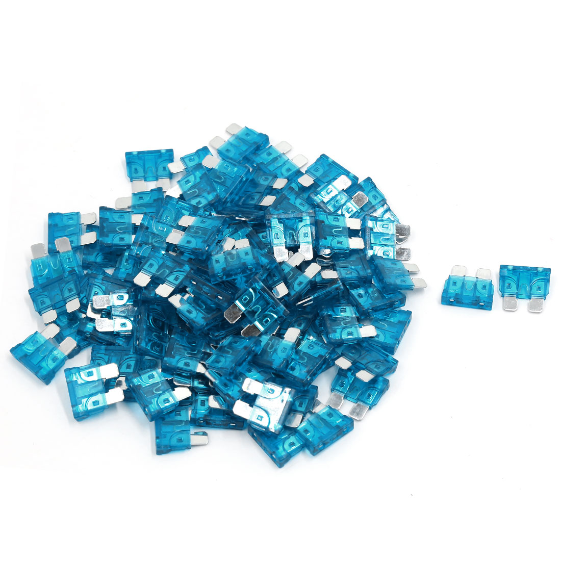 100 Pcs Blue Plasic Housing Mototrcycle Car Medium Size Blade Fuse Fuses 15A