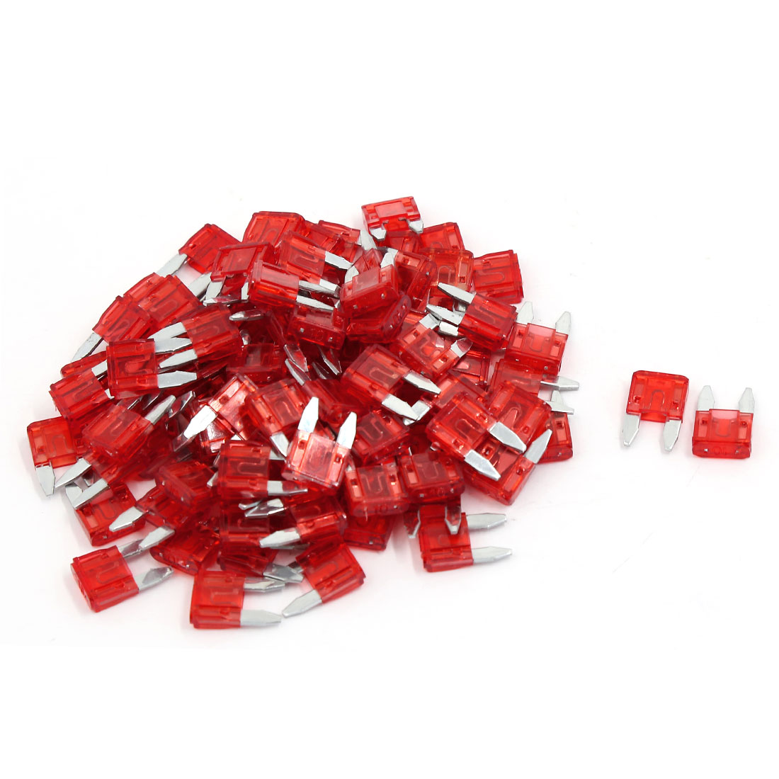 99pcs 10A Red Plastic Shell ATC Mini Blade Fuse Fuses for Car SUV Motorcycle