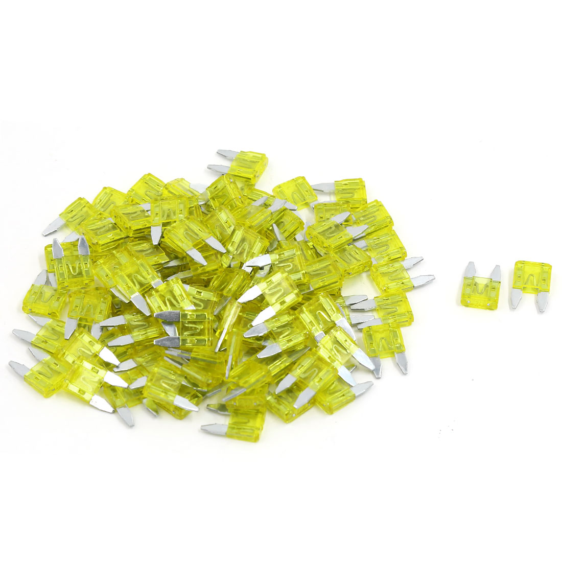 102pcs 20A Yellow Plastic Shell ATC Mini Blade Fuse Fuses for Car SUV Motorcycle