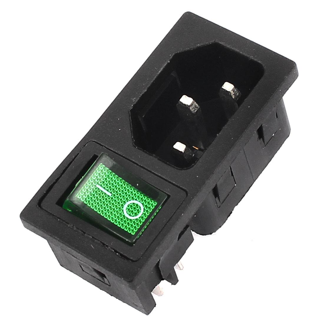 IEC320 C14 AC 250V 10A Green Light Rocker Switch Inlet Connector