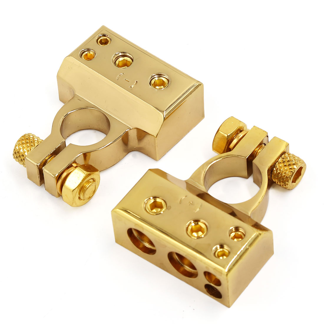 Pair Gold Tone Car Postive Negative Battery Clamp Terminals Connector 2 8 Gauge